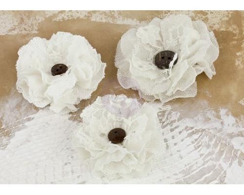Набор декоративных тканевых цветов La Tela Кружевные, Белые, 3 шт. (Prima Marketing)