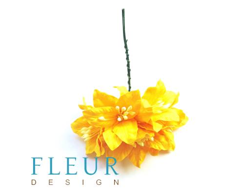 Цветы Лилии Желтые, размер цветка 3,75 см, 5 шт / упаковка FD3031401
