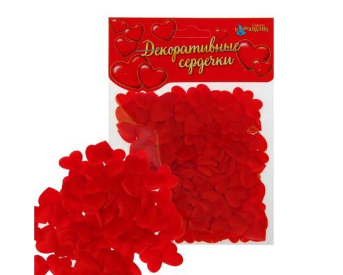 Сердечки декоративные, набор 20шт, 1см, цвет красный
