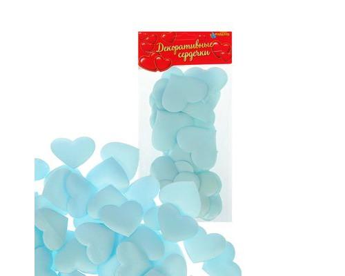 Сердечки декоративные, набор 25шт, 5см, цвет голубой