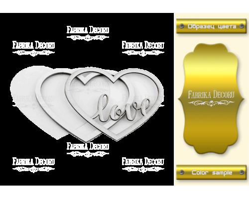 """Заготовка для шейкера """"Любовь в сердце"""" 11x9,5 color_Gold"""