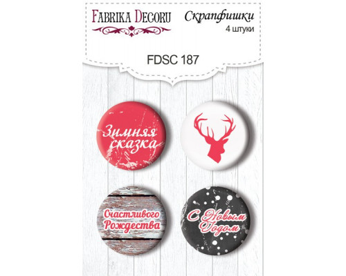 Набор скрап-фишек №187 из коллекции Christmas Fairytales, 4 штуки