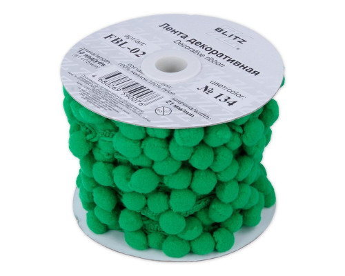Лента с помпонами, цвет зеленый, 1 метр, FBL-02-134