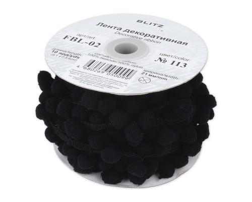 Лента с помпонами, цвет черный, 1 метр, FBL-02-113
