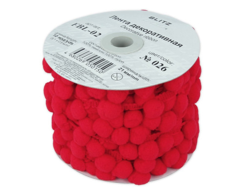 Лента с помпонами, цвет красный, 1 метр, FBL-02-026